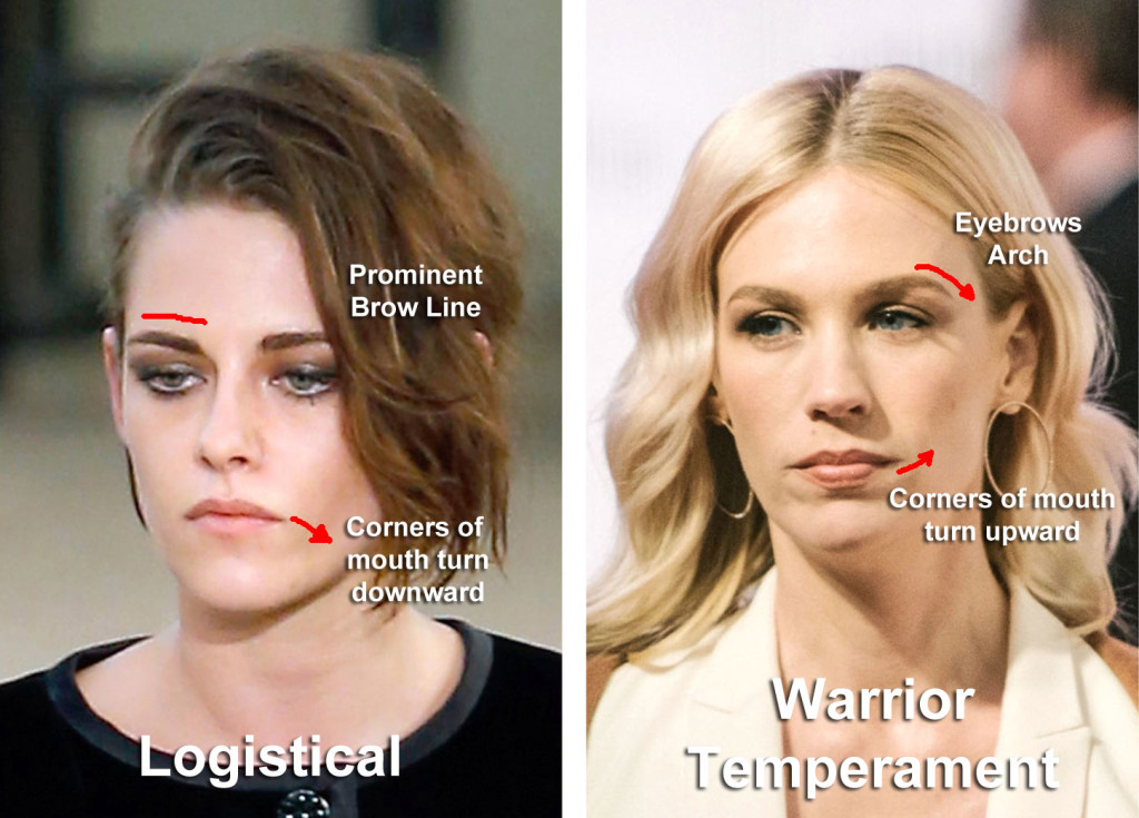 The difference between the Logistical temperament and the Warrior personality temperament. Image from: http://www.nytimes.com/2015/08/02/fashion/im-not-mad-thats-just-my-resting-b-face.html?_r=1