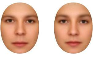 The distance between the upper lip is shorter on the feminine face (right)